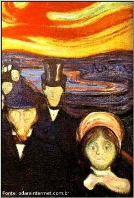 Imagem expressionista de Edward Munch, aparentemente o contr�rio do impressionismo. A corrente art�stica surgiu no in�cio do s�culo XX com surpreendentes combina��es de cores, retratando experi�ncias pessoais e angustiantes dos artistas. Neste per�odo destacam-se na escultura Ernst Barlach e Kate Kollwitz e na pintura, Edward Munch e Oskar Kokoshka.  <br /><br /> Palavras-chave: Expressionismo. Edward Munch. Angustias. Cores.