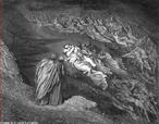 Imagem da ilustra��o de Gustave Dor�, do s�culo XIX, referente ao Canto V de &quot;A Divina Com�dia&quot;. Nesta imagem Virg�lio e Dante observam as almas condenadas pelo pecado da lux�ria, sendo carregadas pelo vento. No primeiro plano temos Paolo e Francesca. A imagem pode ser utilizada para se trabalhar com a obra de Dante Alighieri, especialmente, o &quot;Inferno&quot;, primeiro dos tr�s longos poemas que formam a Com�dia.  <br /><br /> Palavras-chave: Inferno. Poemas. Com�dia. Dante Alighieri.
