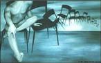 Imagem do artista pl�stico Ant�nio Luz, que nasceu em Tamarana, munic�pio de Londrina, e tem um trabalho caracterizado por s�ries, como &quot;Transeuntes&quot;, &quot;Tribos Urbanas&quot;, &quot;Gueixas&quot;, &quot;Cadeiras&quot;, &quot;Orixas&quot;, sempre destacando o corpo humano. Com essa imagem o professor pode trabalhar as manifesta��es est�ticas dessa obra contempor�nea, comparando-a com obras de outras �pocas. <br /><br /> Palavras-chave: Transeuntes. Gueixas. Cadeiras. Contempor�nea. Est�tica.
