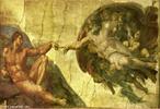 A imagem &quot;A cria��o de Ad�o&quot;, de Michelangelo - arquiteto, pintor e escultor, que se destacou com suas pinturas monumentais. Esta obra � pintura marcante do Renascimento.  <br /><br /> Palavras-chave: Cria��o. Pintura. Monumento. Renascimento.