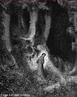 Imagem da ilustra��o de Gustave Dor�, do s�culo XIX, referente ao Canto I de &quot;A Divina Com�dia&quot;. Nesta imagem Dante est� perdido na selva escura. A imagem pode ser utilizada para se trabalhar com a obra de Dante Alighieri, especialmente, o &quot;Inferno&quot;, primeiro dos tr�s longos poemas que formam a Com�dia.  <br /><br /> Palavras-chave: Inferno. Poemas. Cantos. Divina com�dia. Dante Alighieri. Floresta. Escuro.