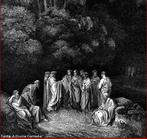 Imagem da ilustra��o de Gustave Dor�, do s�culo XIX, referente ao Canto XXIII de &quot;A Divina Com�dia&quot;. Nesta imagem temos representados os grandes poetas da Antiguidade, como Dante, Homero, Lucano, Virg�lio, entre outros. A imagem pode ser utilizada para se trabalhar com a obra de Dante Alighieri, especialmente, o &quot;Inferno&quot;, primeiro dos tr�s longos poemas que formam a Com�dia.  <br /><br /> Palavras-chave: Inferno. Divina Com�dia. Poemas. Dante Alighieri. Canto. Antiguidade.