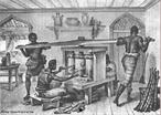 Imagem da gravura de Jean-Baptiste Debret, de 1835, que mostra escravos na moenda de a��car. Na �poca, os escravos trabalhavam no engenho, onde se fabricava o a��car, na moenda, na casa das caldeiras e na casa de purgar. A imagem pode ser utilizada para exemplificar o contexto do per�odo liter�rio Rom�ntico. <br /><br />  Palavras-chave: Escravos. Moenda. Engenho. Negros. Rom�ntismo. Debret.