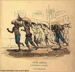 Imagem publicadas por Ludwig & Briggs, retratando carregadores de caf� e os castigos f�sicos sofridos pelos escravos, em 1840. O professor pode utilizar a imagem para contextualizar historicamente o per�odo rom�ntico. <br /><br /> Palavras-chaves: Carregadores de caf�. Castigos f�sicos. Escravos. Romantismo.