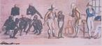 Imagem da gravura de W. Read, do s�culo XIX, que mostra escravos � venda no mercado do Valongo, junto ao porto do Rio de Janeiro. O professor pode utilizar a imagem para contextualizar historicamente o per�odo Rom�ntico. <br /><br /> Palavras-chave: Escravos. Gravura. Romantismo.