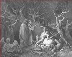 Imagem da ilustra��o de Gustave Dor�, do s�culo XIX, referente ao Canto XIII de &quot;A Divina Com�dia&quot;. Nela temos a imagem Dante arrancando um galho de uma �rvore humanizada, que chora de dor na floresta das H�rpias (onde s�o punidos os suicidas). Essa imagem pode ser utilizada para se trabalhar com a obra de Dante, especialmente, o &quot;Inferno&quot;, primeiro dos tr�s longos poemas que formam a Com�dia.  <br /><br /> Palavras-chave: Inferno. Poemas. Divina com�dia. Dante Alighieri. Canto.