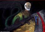 Imagem da ilustra��o de Helder da Rocha, referente ao Canto XVII de &quot;A Divina Com�dia&quot;. Nesta imagem Dante e Virg�lio est�o diante de Geri�n. A imagem pode ser utilizada para se trabalhar com a obra de Dante, especialmente, o &quot;Inferno&quot;, primeiro dos tr�s longos poemas que formam a com�dia.  <br /><br /> Palavras-chave: Inferno. Poemas. Com�dia. Dante Alighieri. Cantos.