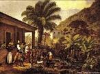 Imagem de Johann Moritz Rugendas, desenhista e documentarista, de 1824, que apresenta os �ndios em uma fazenda de Minas Gerais. O pintor familiariza-se com as correntes art�sticas neoclassicas e romanticas. <br /><br /> Palavras-chave: Rugendas. �ndio. Romantismo.Neocl�ssica.