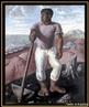 Imgem da pintura &quot;O Lavrador de Caf�&quot;, de C�ndido Portinari, que mede 1 metro por 80 cent�metros e retrata um trabalhador negro em uma fazenda de caf� do in�cio do s�culo XX. Esta obra est� entre as mais conhecidas do artista Portinari, representando seu interesse pela tem�tica nacional. Reflete o contexto hist�rico da �poca, e como seus artistas expressavam isso na arte e na literatura.  <br /><br/> Palavras-chave: Lavrador. Caf�. Negro. C�ndido Portinari. Literatura.