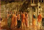 Imagem renascentista, &quot;O tributo da moeda&quot;, de Masaccio (1421-1428), estudioso de anatomia e respons�vel pela introdu��o das sombras e da perspectiva nas pinturas, criando a impress�o de volume e de tridimensionalidade.  <br /><br /> Palavras-chave: Renascentista. Masaccio. Anatomia. Sombras. Volume.
