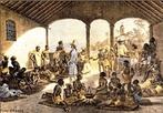 Imagem de Johann Moritz Rugendas, artista alem�o. Em tom rom�ntico, a interpreta��o do lugar e da forma como os escravos eram vendidos ameniza a dura condi��o dos negros na �poca. <br /><br/> Palavras-chave: Rugendas. Escravos. Negros. Mercado. Arte.