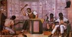 O quadro &quot;Palmat�ria&quot;, de Debret, retrata escravos em um ambiente interno de trabalho, sendo que um deles � disciplinado com o instrumento punitivo palmat�ria, usado at� o in�cio do s�culo XX nas escolas.  <br /><br /> Palavras-chave: Palmat�ria. Debret. Escravos. Trabalho. Puni��o. Interpreta��o de texto. Texto n�o verbal.