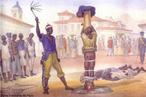Imagem da Gravura de Debret, de 1835, que mostra um escravo no pelourinho sendo a�oitado. O a�oite era a pena aplicada ao escravo. Usava-se para isso o �bacalhau�, chicote feito com cabo de madeira e de cinco tiras de couro retorcidos ou com n�s. O professor pode utilizar a imagem para contextualizar historicamente o per�odo rom�ntico. <br /><br />  Palavras-chave: Escravos. Pelourinho. A�oite. Romantismo.