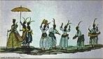 Imagem da ilustra��o de Carlos Juli�o,&quot;Coroa��o de uma rainha na Festa de Reis&quot;,  de 1776. Nota-se nesse ritual p�blico de coroa��o de uma rainha negra as diferentes vestimentas utilizadas pelo cortejo e os instrumentos musicais, todos de matriz africana. Por meio da imagem pode-se associar a diversas manifesta��es culturais presenciadas pelas diversas regi�es do pa�s.  <br /><br /> Palavras-chave: Cultura negra. Rainha. Manifesta��es. Festa de Reis. Africa.
