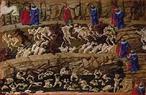 Imagem da ilustra��o de Sandro Botticelli, do s�culo XV, referente ao Canto XVIII de &quot;A Divina Com�dia&quot;. Nesta imagem temos os sedutores e rufi�es (em sentidos opostos) sendo a�oitados por diabos na primeira vala. No primeiro plano, segunda vala, v�-se os aduladores imersos no esterco. A imagem pode ser utilizada para se trabalhar com a obra de Dante Alighieri, especialmente, o &quot;Inferno&quot;, primeiro dos tr�s longos poemas que formam a Com�dia. <br /><br /> Palavras-chave:  Inferno. Poemas. Com�dia. Dante Alighieri.