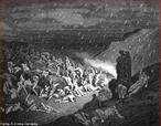 Imagem da ilustra��o de Gustave Dor�, do s�culo XIX, referente ao Canto XIV de &quot;A Divina Com�dia&quot;. Nesta imagem as pessoas que praticaram viol�ncia contra Deus, contra a natureza e contra a arte s�o condenados a permanecer em um deserto de areia quente/incandescente, onde chovem chamas de fogo. A imagem pode ser utilizada para trabalhar com a obra de Dante, especialmente, o &quot;Inferno&quot;, primeiro dos tr�s longos poemas que formam a Com�dia.  <br /><br /> Palavras-chave: Inferno. Poemas. Divina com�dia. Dante Alighieri. Castigo.