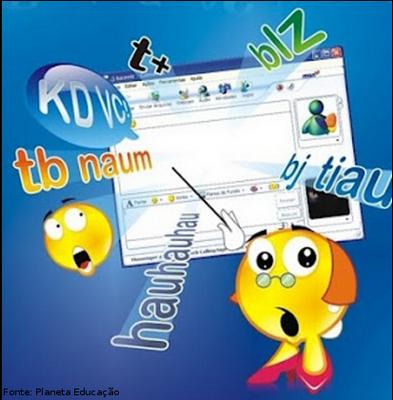 Imagem com exemplos da linguagem utilizada nos meios de comunicação virtual. O internetês é caracterizada pelas abreviações que permitam que a escrita acompanhe o ritmo da fala.  <br /><br  Palavras-chave: Linguagem verbal. Internetês. Chat.