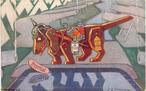 Cartão-postal  de uma série de seis, sobre as fábulas de Esopo adaptadas para a Primeira Guerra Mundial. No verso dos cartões há sempre uma explicação resumida da fábula e da histórica aliança dos países em guerra. Com desenhos de F. Sancha, 1915 (circa), segundo o catálogo Neudin &quot;Illustrateurs&quot;, As Fábulas de Esopo Modernizadas. <br /><br />  Palavras-chave: Literatura. Fábulas. Fábulas modernizadas. Cão. Esopo.