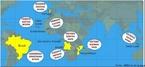 Imagem que apresenta um mapa localizando os países que têm a Língua Portuguesa como oficial.  <br /><br/> Palavras-chave: Língua Portuguesa. Acordo ortográfico. Mapa.