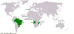 Mapa-múndi destacando a incidência da língua portuguesa no mundo.  <br /><br Palavras-chave: mapa-múndi, língua portuguesa.